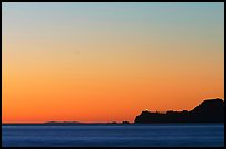 Marin headlands and Point Bonita, across the Golden Gate, sunset. California, USA