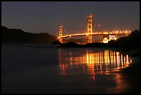 Golden Gate bridge at night from Baker Beach. San Francisco, California, USA (color)