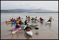 Sea kayak class, Pillar point harbor. Half Moon Bay, California, USA (color)
