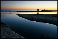 Twin Lakes State Beach, sunset. Santa Cruz, California, USA (color)