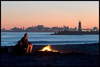 Camp Fire on the beach at sunset. Santa Cruz, California, USA ( color)