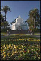 Flower bed and Conservatory of the Flowers, late afternoon, Golden Gate Park. San Francisco, California, USA