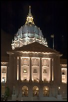 City Hall by night. San Francisco, California, USA (color)