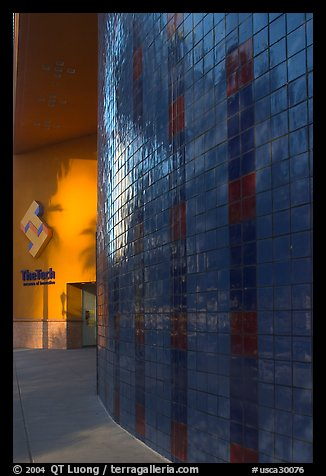 Tech Museum of Innovation entrance, late afternoon. San Jose, California, USA (color)