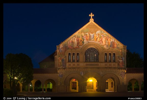 Memorial church at night. Stanford University, California, USA (color)
