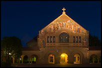 Memorial church at night. Stanford University, California, USA
