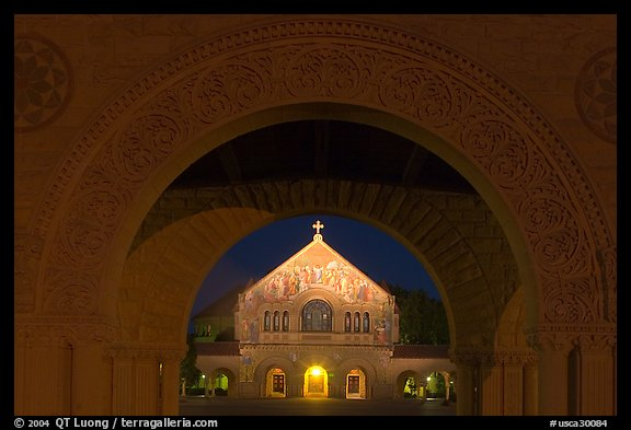 Quad and Memorial church at night. Stanford University, California, USA (color)