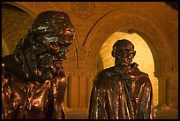 Burghers of Calais by Rodin in Quad by night. Stanford University, California, USA ( color)