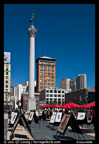Art exhibit on Union Square central plaza, afternoon. San Francisco, California, USA (color)