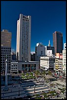 Union Square, the heart of the city's shopping district, afternoon. San Francisco, California, USA (color)