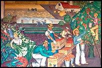 Agricultural scene depicted in a fresco inside Coit Tower. San Francisco, California, USA