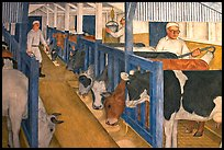 Cows in a farm depicted in a fresco inside Coit Tower. San Francisco, California, USA
