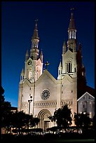 St Peter and Paul Church at night, Washington Square,. San Francisco, California, USA