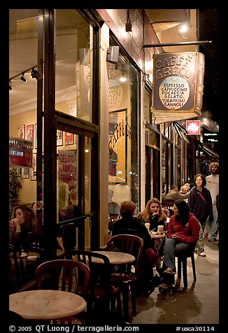 Cafe on Columbus Avenue at night, North Beach. San Francisco, California, USA (color)