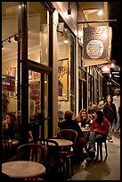 Cafe on Columbus Avenue at night, North Beach. San Francisco, California, USA