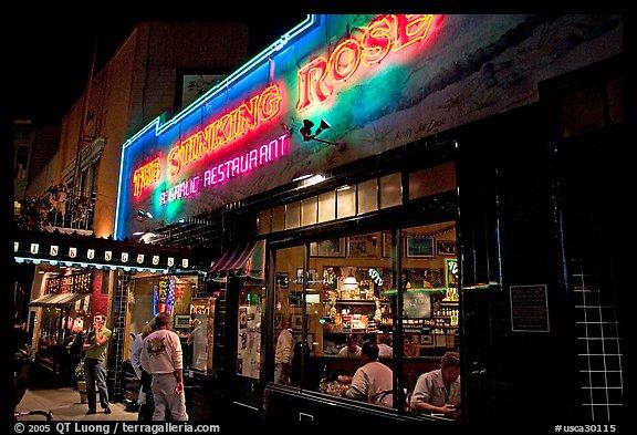 Stinking Rose Garlic Restaurant At Night North Beach San Francisco California Usa