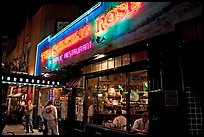 Stinking Rose garlic restaurant at night, North Beach. San Francisco, California, USA (color)