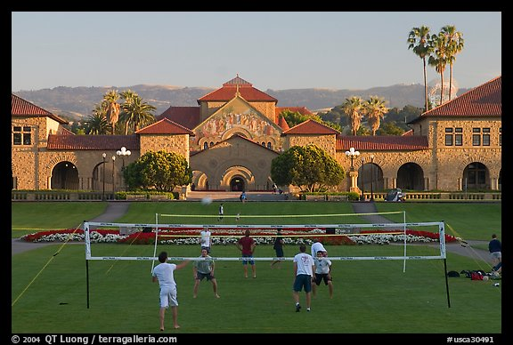 Volley-ball players in front of the Quad, late afternoon. Stanford University, California, USA (color)