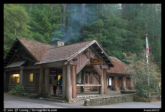 Visitor center, late afternoon. Big Basin Redwoods State Park,  California, USA (color)