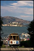 Cable car and Alcatraz Island, late afternoon. San Francisco, California, USA (color)
