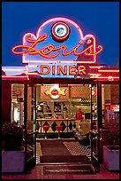 Lori's diner, Ghirardelli Square, dusk. San Francisco, California, USA (color)
