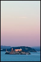 Alcatraz and Yerba Buena Islands, sunset. San Francisco, California, USA ( color)