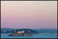 Alcatraz Island,  Yerba Buena Island, and Bay Bridge, sunset. San Francisco, California, USA ( color)
