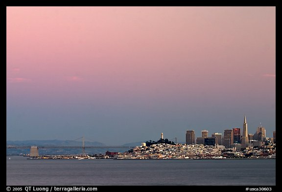 City and Bay Bridge, Sunset. San Francisco, California, USA (color)