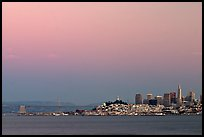 City and Bay Bridge, Sunset. San Francisco, California, USA