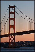 Golden Gate Bridge, sunset. San Francisco, California, USA ( color)