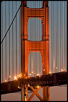 Golden Gate Bridge pillar at night. San Francisco, California, USA
