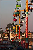 Beach Boardwalk and gondola at sunset. Santa Cruz, California, USA ( color)
