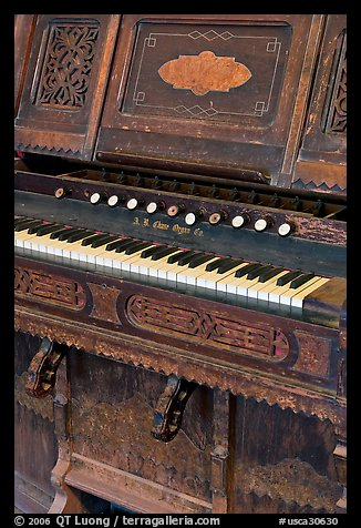 Old organ, Mission San Miguel Arcangel. California, USA (color)