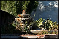 Fountain and cacti, Mission San Miguel Arcangel. California, USA (color)