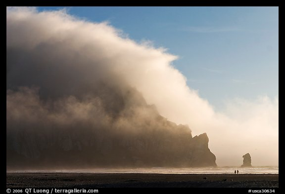 Morro Rock engulfed by afternoon fog. Morro Bay, USA (color)