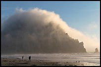 Couple walking on the beach, with Morro Rock and fog behind. Morro Bay, USA (color)