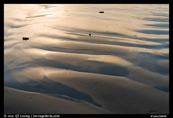 Ripples and wet sand on beach. Morro Bay, USA (color)