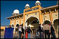Indian immigrants gathering in fron of the Sikh Gurdwara Temple. San Jose, California, USA (color)