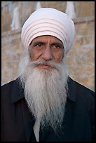 Sikh priest, Sikh Gurdwara Temple. San Jose, California, USA (color)