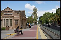 Waiting at the Menlo Park historical train station. Menlo Park,  California, USA ( color)