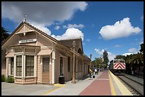Train station in victorian style. Menlo Park,  California, USA (color)