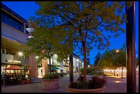 Menlo Center at night, with cafe Borrone and Keplers bookstore. Menlo Park,  California, USA