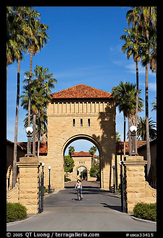 West Entrance to the Main Quad, late afternoon. Stanford University, California, USA