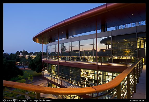 James Clark Center, dusk. Stanford University, California, USA