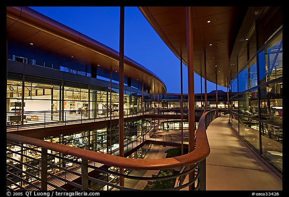 Newly constructed James Clark Center, dusk. Stanford University, California, USA (color)