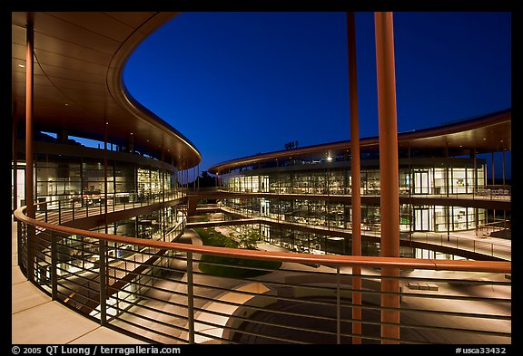 Curves of the James Clark Center, dusk. Stanford University, California, USA (color)