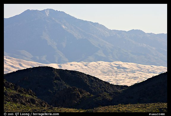 Hills, Kelso Dunes, and Granit Moutains from a distance. Mojave National Preserve, California, USA (color)