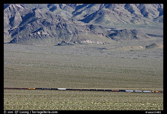 Freight train in a desert valley. Mojave National Preserve, California, USA