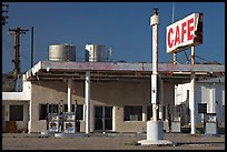 Cafe and gas station, historic route 66,  Amboy. California, USA (color)