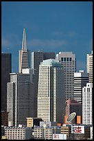 Financial district skyline with Museum of Modern Art building, afternoon. San Francisco, California, USA (color)